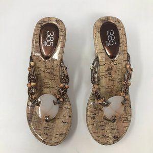 385 Fifth Women  Tan Brown Thong Wedge 7 Sandals